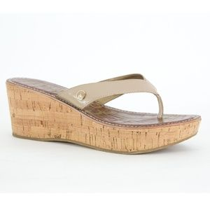 SAM EDELMAN Taupe Sandals CORK Wedge Platform ROMY